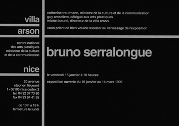 Recto du carton d'invitation de l'exposition <em>Bruno Serralongue</em>