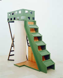 Siah Armajani, <em>Dictionary for Building : Closet under Landing</em>, 1985<br />miroir, bois peint, teinture, 279,4 x 264,2 x 118,1 cm